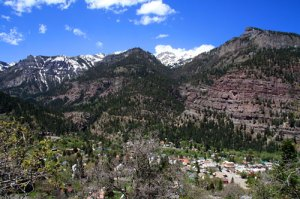 Looking down on Ouray from trail above town
