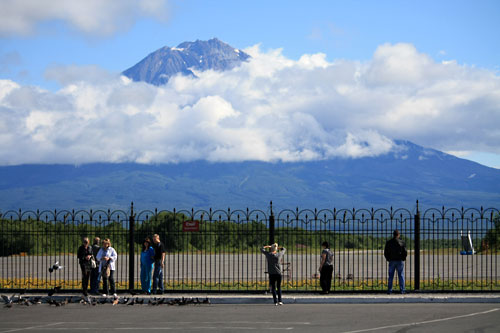 View of nearby volcano from Petropavlovsk airport