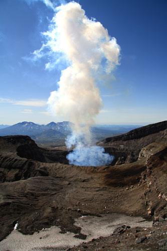 Smoke coming from Gorely's second crater