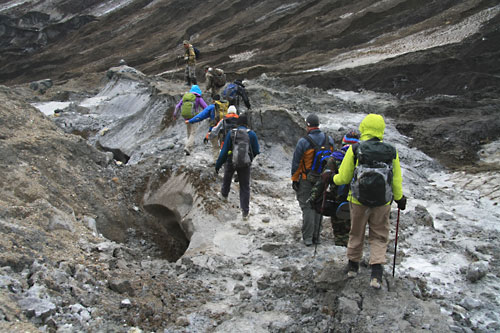 Heading out of the Mutnovsky Volcano crater