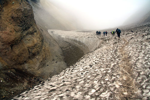 Hiking on Glacier into Mutnovsky crater