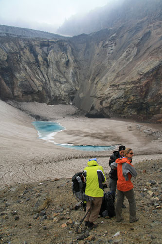 Turquoise Glacial Lake in Mutnovsky Volcano crater