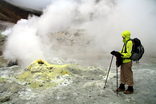 Fumaroles spewing sulphuric steam in Mutnovsky Volcano crater