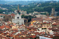 View of Florence rooftops and Santa Croce Church