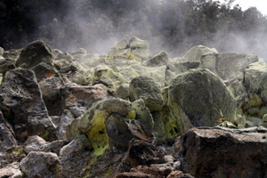 Rocks covered with sulfur