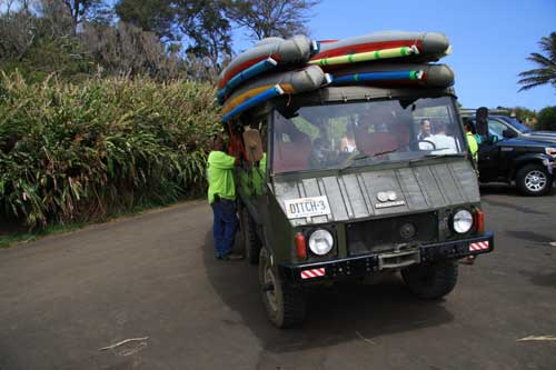 Pinzgauer loaded with kayaks