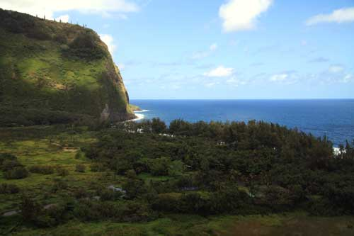 Looking out van door on way to bottom of Waipi'o Valley