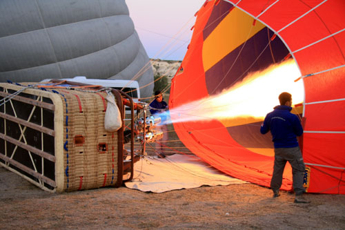 Blowing up the hot air balloon