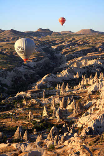A glimpse of the Cappadocian landscape from hot air balloon
