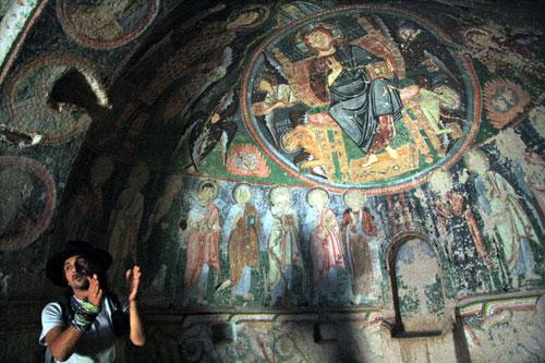 Frescoes inside church