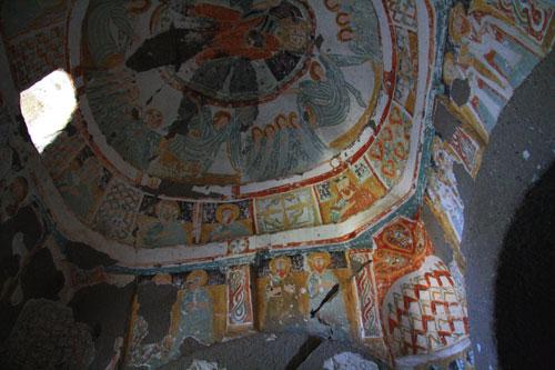 Frescoes inside church in Ihlara Valley