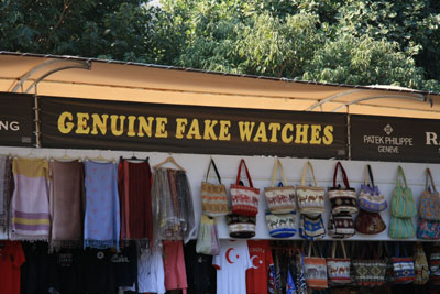Tourist stand outside Ephesus
