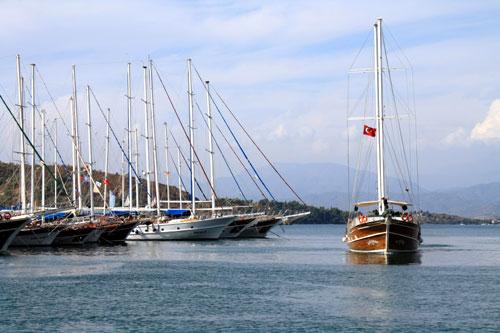 Gulets in Fethiye harbor