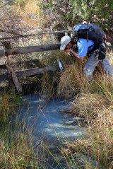 Vince Having a Taste of Sulfur Spring Water (ugh!)