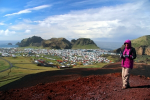 Valerie on the Summit of Volcano Heldefll Overlooking Heimay Island