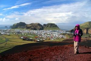 Valerie on the Summit of Volcano Heldefll Overlooking Heimay Island