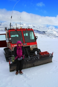 Valerie on the Snowcat