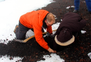 Erlingur Showing How Warm the Ground is Just Below the Surface of the Mt. Hekla Summit