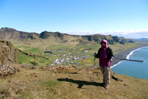 Valerie Standing Above the Town of Vik